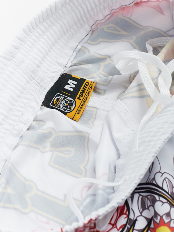 MANTO X Krazy Bee fight shorts DRAGON white