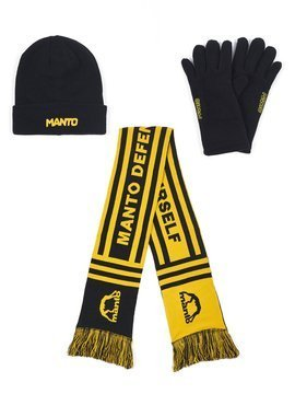 Beanie LOGOTYPE + knit scarf DEFEND + fleece gloves LOGOTYPE