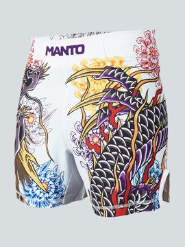 MANTO X Krazy Bee fight shorts DRAGON weiss