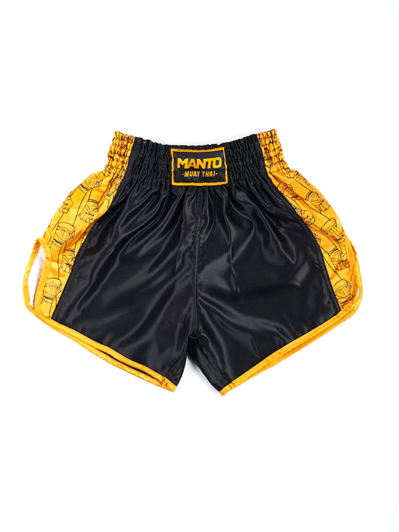 MANTO fightshorts MUAY THAI FISTS schwarz/gelb